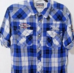 Petrol Industries Plaid Snap Button Shirt